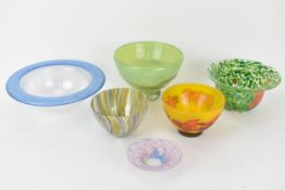 Art Glass to include a Kosta Boda green speckled bowl and a pink speckled dish designed by Ulrica