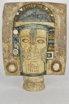 A Troika mask with incised and textured 'Aztec' decoration, monogrammed AW for Annette Walters circa