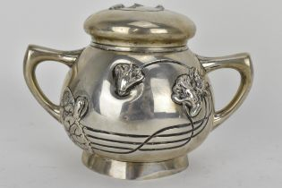 An Art Nouveau Austrian silver twin handled pot and cover, the lid having initials RJ to the top and