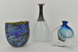 A Bertil Vallien Art Glass vase for Kosta Boda together with a Carin Von Drehle Art Glass vase and a