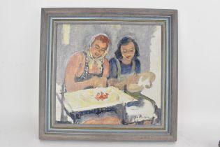 Harold Dearden (1888-1962) An oil on board entitled 'Sketch the Needlepoint', 27.5 x 26cm, framed,