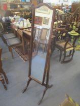 A mid 20th century mahogany cheval swing mirror, 158.5cm h x 50.5cm w