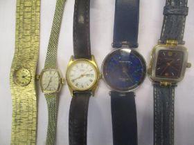 Five wristwatches to include a Pierre Cardin Australian opal, a Rotary, a Michel Herbelin, a Seiko