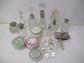 Glass and silver scent bottles to include an atomiser and an inkwell with a silver hinged lid