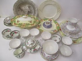 Mixed china to include Coalport, Indian Tree pattern teaset, Limoges, trivet dish and mixed