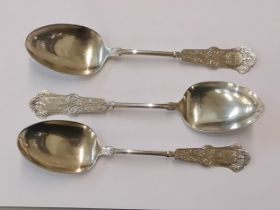 A set of three American sterling silver serving spoons by E R Lawshe, 148g, Location: CAB