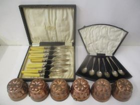 A set of six silver tea spoons, Birmingham 1926, six 20th century copper jelly moulds and a set of