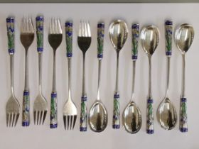 A set of twelve Korean silver fruit forks and spoons with enamelled handles, 245g, Location: CAB