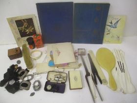 Printed ephemera, and collectables to include greeting cards, glove stretchers, hair tongs and