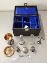 A silver plated communion set Location: port