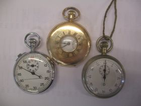 A gold plated half hunter pocket watch and two timers