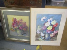 Marion Broom - two still life's of flowers, watercolour signed, one framed and glazed