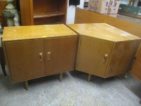 A mid 20th century retro Stag Concorde light oak two door low cabinet by John & Sylvia Reed, 70cm
