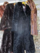 """A vintage Leon Haase dark brown fur coat, 42""""Chest 46""""Long together with an M & Michael black beaver"""