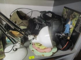 A mixed lot to include fishing reels, mixed cameras, binoculars, anglepoise lamp, Abba LP record and