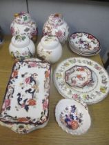Masons china to include a pair of ginger jars decorated with birds, a pair of Fruit Basket pattern