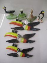 Carltonware Guinness advertising ceramics comprising three graduated toucans, a kangaroo, a tortoise