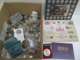 A large quantity of mostly British and other coinage to include 1970 coinage of Great Britain set,