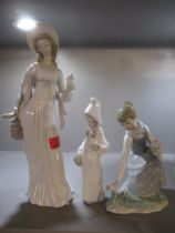 Three Lladro figures of females A/F