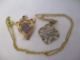 A 9ct gold and seed pearl pendant on a yellow metal necklace, together with a 9ct gold amethyst