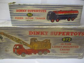 Two boxed Dinky toys to include a 972 Lorry mounted Crane and a 942 Foden 14-ton tanker