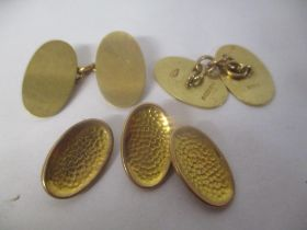 Mixed 9ct gold jewellery to include a pair of cufflinks 9.5g