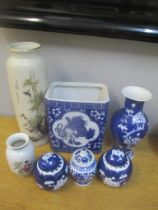 Twentieth century Oriental ceramics to include Chinese blue and white Prunus blossom ginger jars and