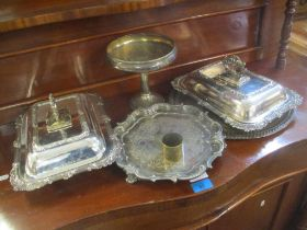 Silver plate to include a pair of Victorian entree dishes, two trays, a tazza and a napkin ring