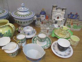 English and Continental ceramics to include Staffordshire flatbacks, a Dutch Delft dish, Carlton