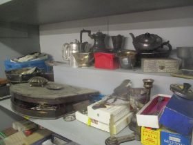 A large selection of silver plated items to include an oak canteen of cutlery, christening set,