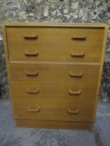 A mid 20th century retro G-Plan E-Gomme light ok chest of five graduating drawers, 97.5cm h x 76.5cm