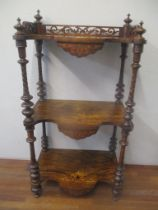 A Victorian walnut and marquetry what-not with a pierced gallery, 105cm h x 55cm w