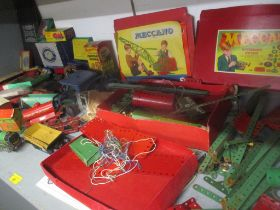 A mixed lot of toys to include Meccano, Dinky to include a 290 bus, Hornby to include an 1842