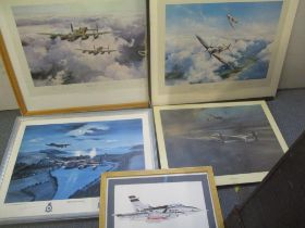 Five RAF related prints to include examples signed by Mark Martin, John Larder, Johnnie Johnson,