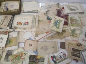 Printed ephemera to include greetings cards, postcards Christmas cards, mainly late 19th/early