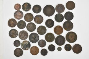A group of George IV copper pennies to include a 1826 showing laureate head facing left having
