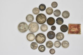 A selection of silver Victorian coinage to include early and later shillings, fourpence, 1838 silver