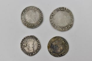 A group of four Tudor and Stuart coinage to include a Elizabeth I 1558-1603, silver shilling, a