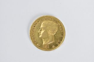 Napoleon I - a 1814 gold 40 lire, minted in Milan, the capital of the 'Napoleonic' Kingdom of
