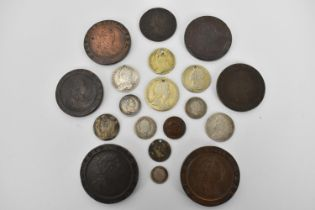 Georgian coinage to include a George I silver shilling having South Sea Company marks and drilled to