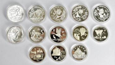 Royal Mint - 'The Official China Commemorative Coin Collection' part set of 13 silver proof