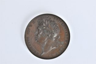 A King George IV Coronation 1821 medal in copper by Benedetto Pistrucci, Laureate Bust 1, Georgius