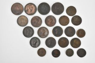 A quantity of George III copper pennies to include 3rd issue 1799 1/2d and 1/4d, 4th issue 1/2d