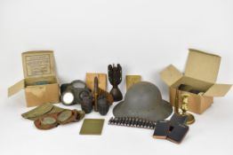 Second World War and relegated items to include a 1941 Zuckerman Civil Defence helmet, a pair of
