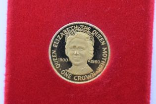 A 9ct, 1980 Queen Mother 80th Birthday Isle of Man Gold Proof Crown, Pobjoy mint.