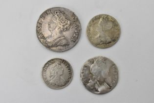 Queen Anne 1702-1714, a 1711 silver shilling obverse reads 'ANNA DEI GRATIA' depicting bust of