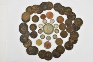 A George VI 1937 crown together with nine late 19th/early 20th century threepence, pennies and other
