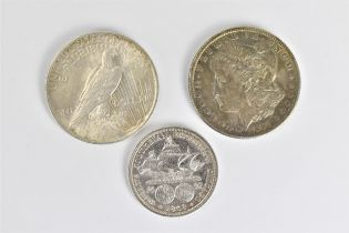 A group of three late 19th/early 20th century silver coins of the United States of America to