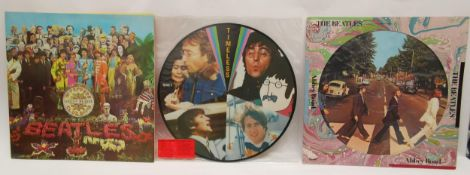 Three Beatles albums to include 'Abbey Road', 1978 US picture disc, Sleeve: VG+ Disc: VG+, 'SGT