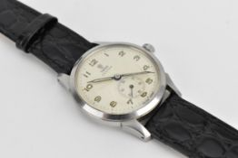 A 1950/60s gents Tudor Oyster stainless steel wristwatch, having a white dial with Arabic numerals